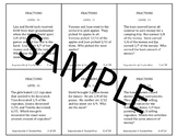 Fraction Problem Solving Task Cards: Level 8 Word Problems Comparing Fractions