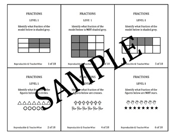 Fractions Problem Solving Task Cards: Level 1 Fraction Parts of Whole (Basic)