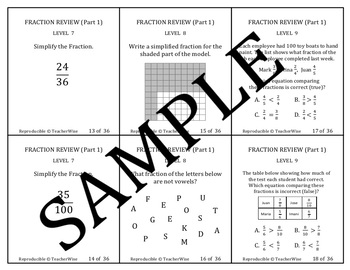 Fractions Real World Problem Solving Review Task Cards: Levels 1 - 14