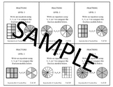 Fraction Problem Solving Task Cards: Level 2 Compare Models (less & greater)