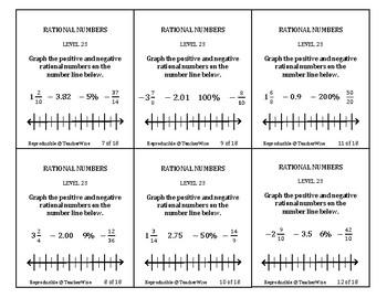 Rational Number Problem Solving Task Cards: Level 23 Graph Positive & Negative