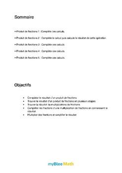 Fractions - Produit de fractions -6e