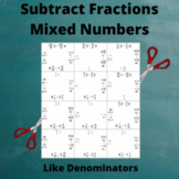 Fractions Puzzle: Subtract Mixed numbers: Like Denominators