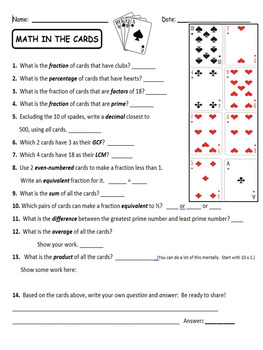 Fractions Puzzlers with Playing Cards