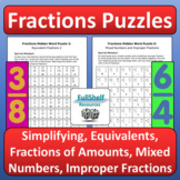 Fractions Puzzles Worksheets (Equivalent, Simplifying, of