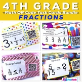 4th Grade Fractions Task Cards with QR Codes Bundle - CCSS Aligned