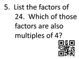 Fractions QR Code Review