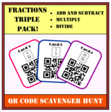 Fractions QR Scavenger Hunt - Add & Subtract, Multiply, Di