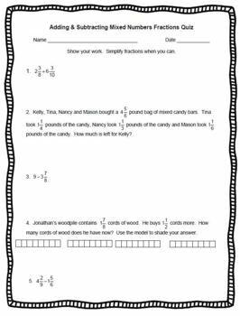 Fractions QUIZ PreTest Practice Homework Worksheet Word Problems Computation