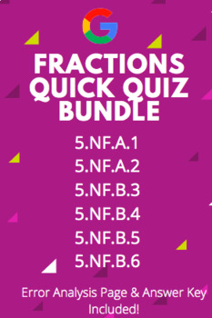 Fractions Quick Quiz Bundle: Adding, Subtracting, Multiplication & More!