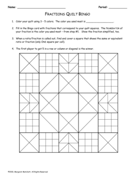 fractions quilt bingo by margaret matchett teachers pay teachers. Black Bedroom Furniture Sets. Home Design Ideas