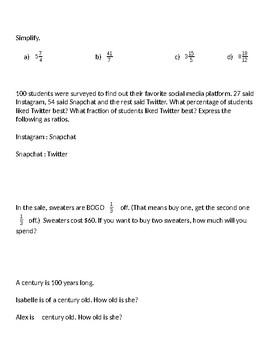 Fractions Quiz; Includes Ratios