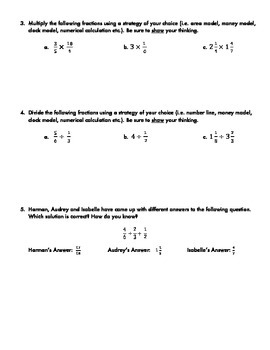 Fractions Quiz: Adding, Subtracting, Multiplying, Dividing with Self-Assessment