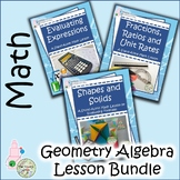 Fractions, Ratios, Formulas, Shapes and Solids Bundle of Math Lessons