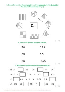 Fractions:  Recognise and write decimal equivalents to 1/2 and 1/4