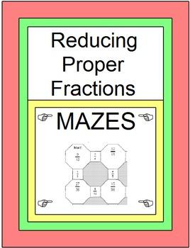 Fractions - Reducing Proper Fractions (2 MAZES)