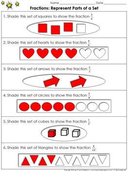 Fractions: Represent Parts of a Set Practice Sheets - King Virtue's Classroom