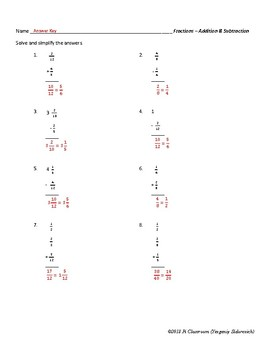 Fractions Review - Addition & Subtraction