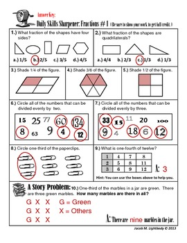 Fractions Review (Daily Skills Sharpener Series)
