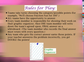 Fifth Grade Common Core Fractions Review Game Flipchart