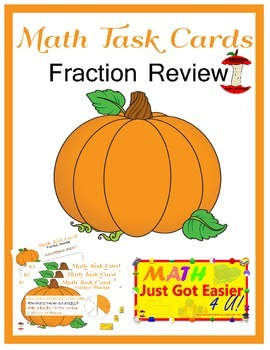 Fractions Review Math Task Cards- Thanksgiving/Fall