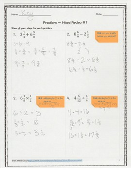 Fractions Review Packet with Answers