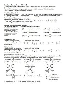 Fractions Review Part 1 Fall 2013