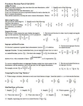 Fractions Review Part 2 Fall 2013 (Editable)