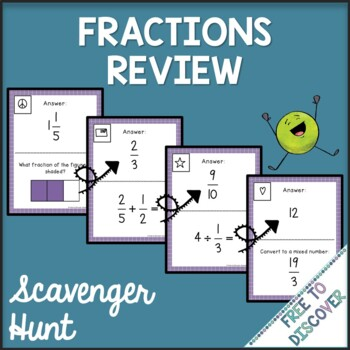 Fractions Review Activity - Scavenger Hunt