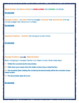 Fractions Review Sheet