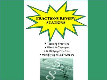 Fractions Review Stations Activity