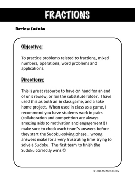 Fractions - Review Sudoku