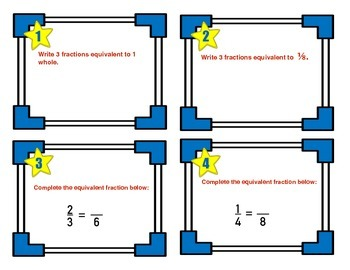 Fractions Review Task Cards - 4th Grade CCSS Math - 4.NF.A, 4.NF.B