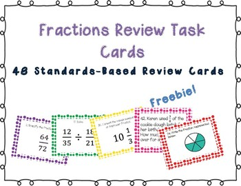 Fractions Review Task Cards Freebie{Part 1 of 3}