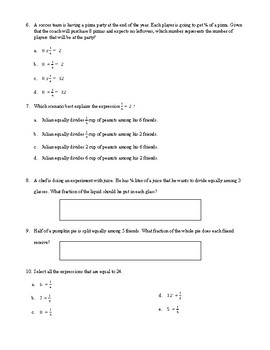 Fractions Review for 5th Grade- *FREEBIE*
