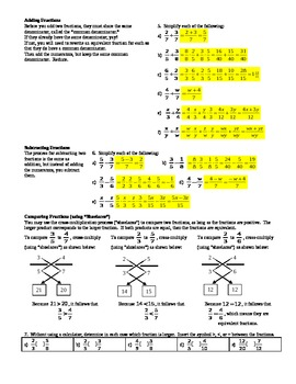Fractions Review for High School Students with answer key (Editable)