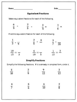 Equivalent Fractions Review or Quiz