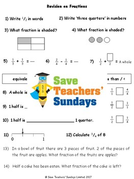 Fractions Revision / Assessment (4 levels of difficulty) for 2nd / 3rd grade