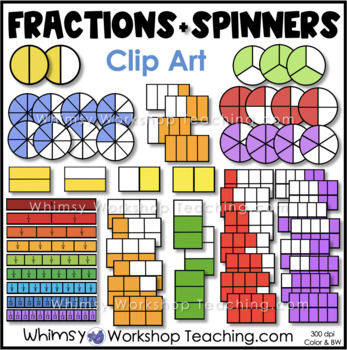 Fractions - Round, Rectangle and Fractions Strips Clip Art
