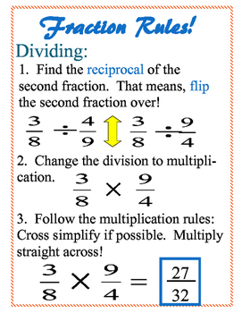 Fractions Rules Poster 8x11
