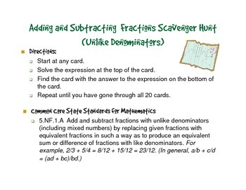 Fractions Scavenger Hunt - Add and Subtract Fractions with Unlike Denominators