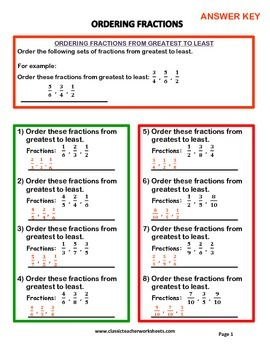 Fractions - Set #2: Ordering Fractions - Advanced - Grades 5-6 (5th-6th Grade)