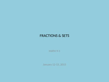 Fractions & Sets PPT