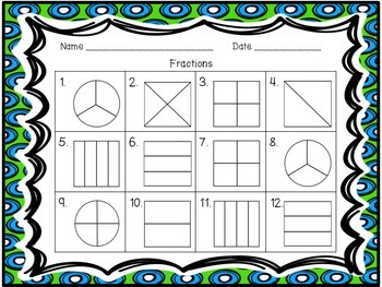 Fractions - Shade the Fraction Task Cards and worksheets
