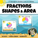 Fractions, Shapes & Area SCOOT Task Cards 3.G.A2 (Optional