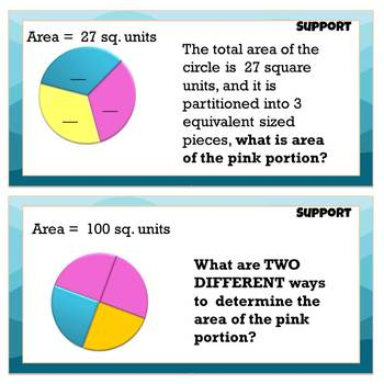 Fractions, Shapes & Area SCOOT Task Cards 3.G.A2 (Optional 5.NF.B4 Level) Summer