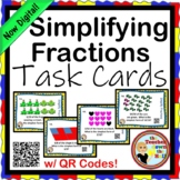 Fractions - Simplifying Fractions 24 TASK CARDS w/ QR Codes!