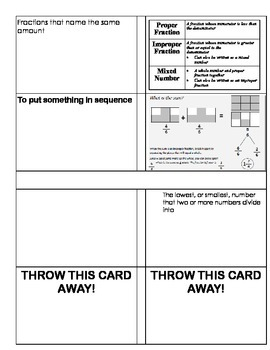 Fractions Study Cards