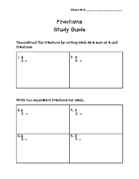 Fractions Study Guide- Equivalent, Comparison, Adding & Subtracting