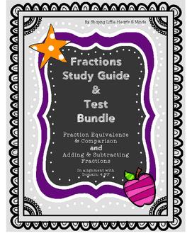 Fractions Study Guide & Test BUNDLE- Equivalent, Comparison, Add & Sub.